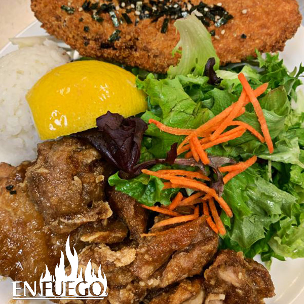 image of garlic chicken and ahi katsu special at En Fuego Grill