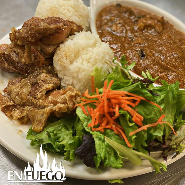 image of Early Bird garlic chicken & Pastele Stew Combo special at En Fuego Grill