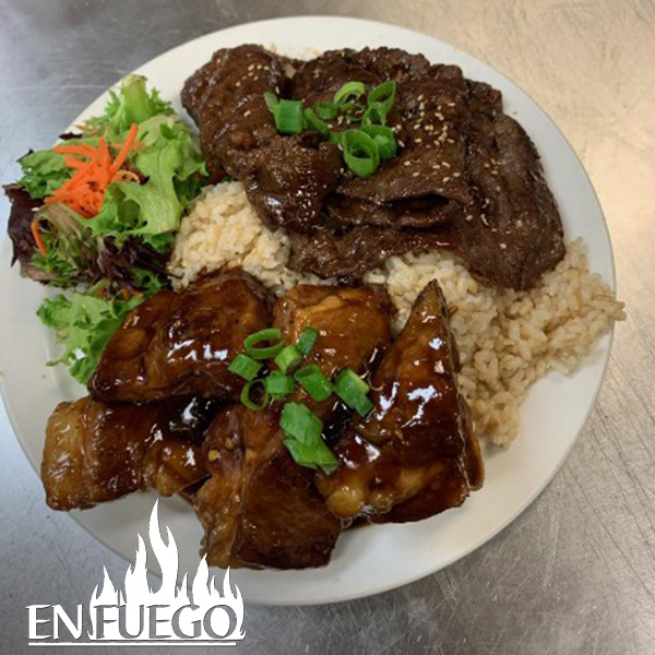 image of teri beef hoisin ribs combo at En Fuego Grill