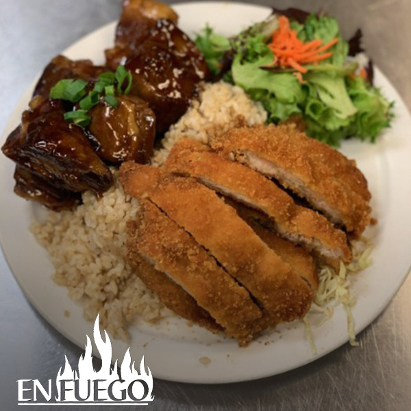 image of hoisin ribs and chicken katsu special at En Fuego Grill