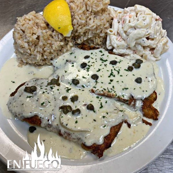 image of Mahi Mahi with cream sauce special at En Fuego grill.